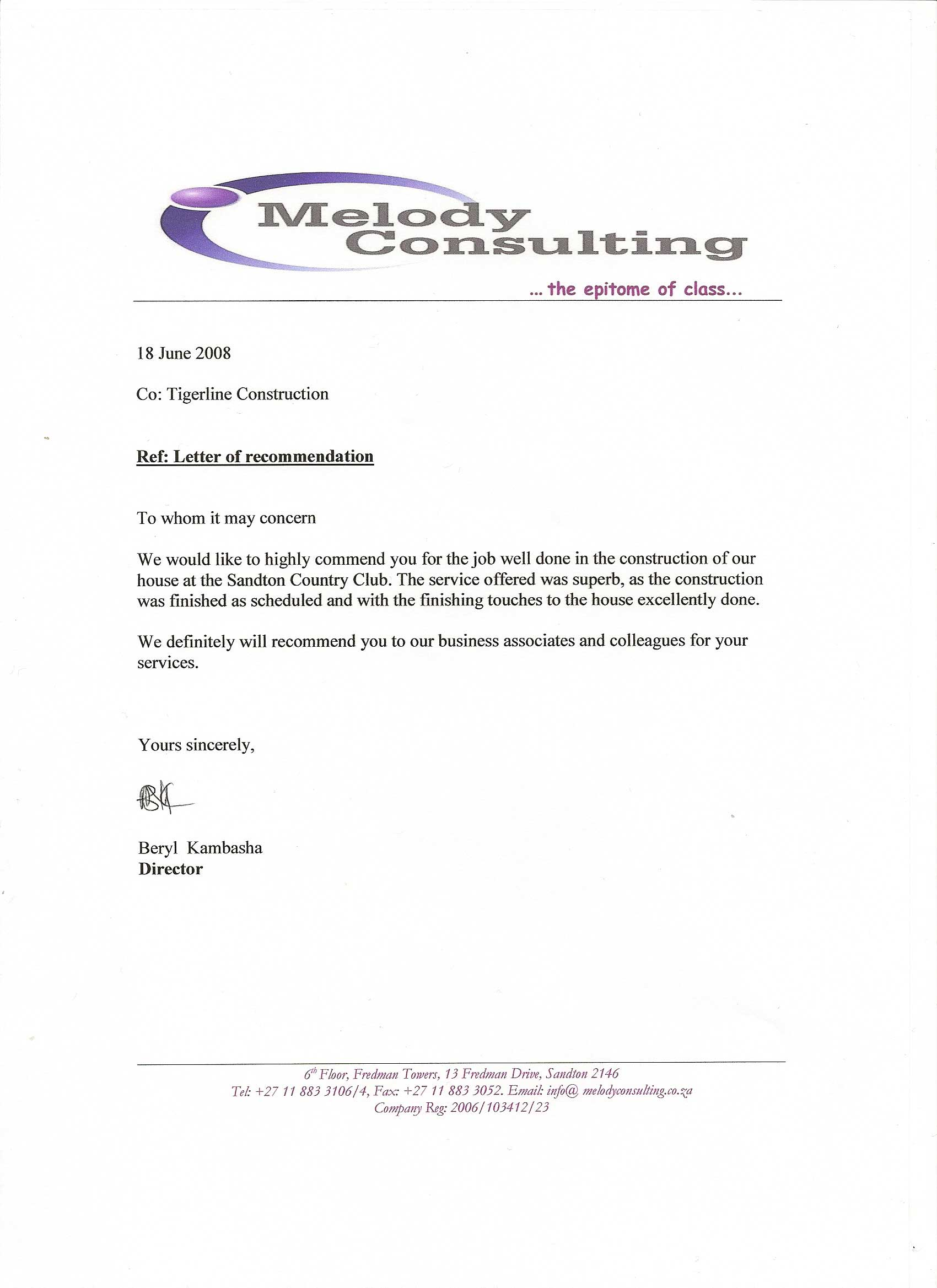 Recommendation Letter For Business Partner Image Collections
